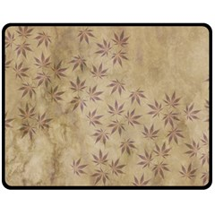 Parchment Paper Old Leaves Leaf Double Sided Fleece Blanket (medium)  by Nexatart