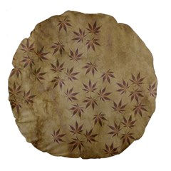 Parchment Paper Old Leaves Leaf Large 18  Premium Flano Round Cushions by Nexatart