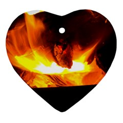 Fire Rays Mystical Burn Atmosphere Ornament (heart) by Nexatart