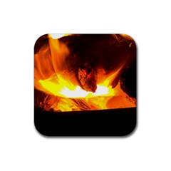 Fire Rays Mystical Burn Atmosphere Rubber Square Coaster (4 Pack)