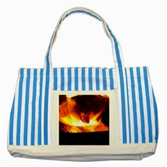 Fire Rays Mystical Burn Atmosphere Striped Blue Tote Bag by Nexatart