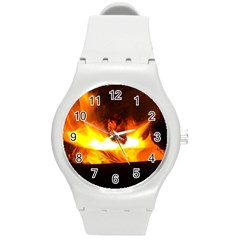 Fire Rays Mystical Burn Atmosphere Round Plastic Sport Watch (m) by Nexatart
