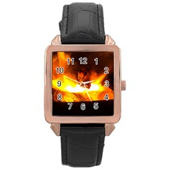 Fire Rays Mystical Burn Atmosphere Rose Gold Leather Watch