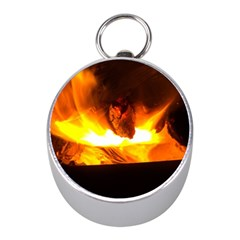 Fire Rays Mystical Burn Atmosphere Mini Silver Compasses by Nexatart