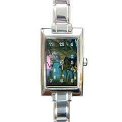 Background Forest Trees Nature Rectangle Italian Charm Watch