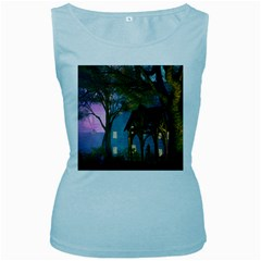 Background Forest Trees Nature Women s Baby Blue Tank Top