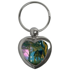 Background Forest Trees Nature Key Chains (heart)