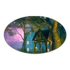 Background Forest Trees Nature Oval Magnet by Nexatart