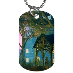 Background Forest Trees Nature Dog Tag (one Side)