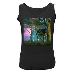 Background Forest Trees Nature Women s Black Tank Top