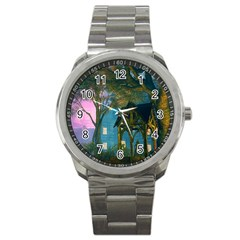 Background Forest Trees Nature Sport Metal Watch by Nexatart