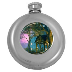 Background Forest Trees Nature Round Hip Flask (5 Oz)