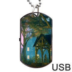 Background Forest Trees Nature Dog Tag Usb Flash (two Sides)