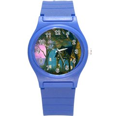 Background Forest Trees Nature Round Plastic Sport Watch (s) by Nexatart