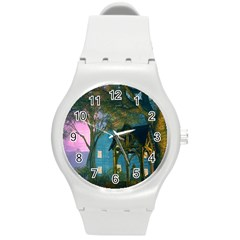 Background Forest Trees Nature Round Plastic Sport Watch (m) by Nexatart