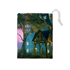 Background Forest Trees Nature Drawstring Pouches (medium)  by Nexatart