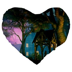 Background Forest Trees Nature Large 19  Premium Flano Heart Shape Cushions