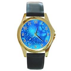 Bokeh Background Light Reflections Round Gold Metal Watch