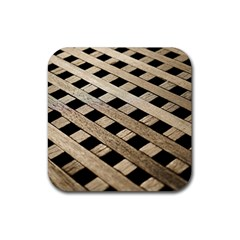 Texture Wood Flooring Brown Macro Rubber Coaster (square)  by Nexatart