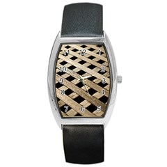 Texture Wood Flooring Brown Macro Barrel Style Metal Watch by Nexatart