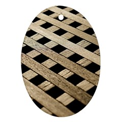 Texture Wood Flooring Brown Macro Oval Ornament (two Sides) by Nexatart