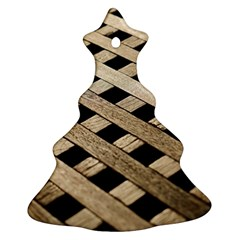 Texture Wood Flooring Brown Macro Christmas Tree Ornament (two Sides) by Nexatart