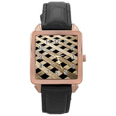 Texture Wood Flooring Brown Macro Rose Gold Leather Watch
