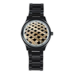 Texture Wood Flooring Brown Macro Stainless Steel Round Watch