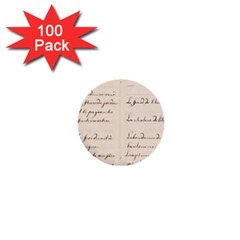 German French Lecture Writing 1  Mini Buttons (100 Pack)