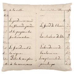 German French Lecture Writing Large Flano Cushion Case (two Sides) by Nexatart