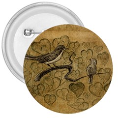 Birds Figure Old Brown 3  Buttons by Nexatart