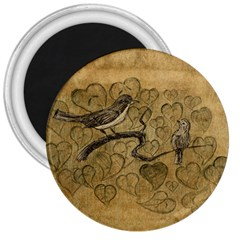 Birds Figure Old Brown 3  Magnets by Nexatart