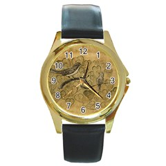 Birds Figure Old Brown Round Gold Metal Watch