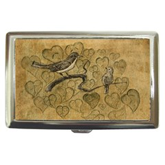 Birds Figure Old Brown Cigarette Money Cases