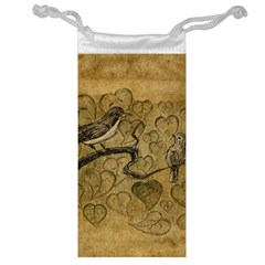 Birds Figure Old Brown Jewelry Bag by Nexatart