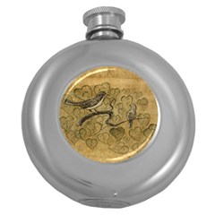 Birds Figure Old Brown Round Hip Flask (5 Oz)