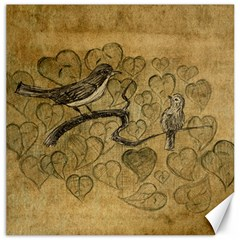 Birds Figure Old Brown Canvas 16  X 16