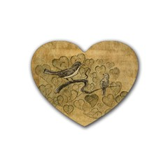 Birds Figure Old Brown Rubber Coaster (heart)