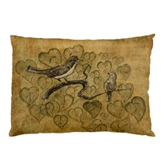 Birds Figure Old Brown Pillow Case