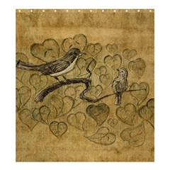 Birds Figure Old Brown Shower Curtain 66  X 72  (large)