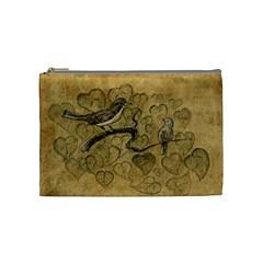 Birds Figure Old Brown Cosmetic Bag (medium)  by Nexatart