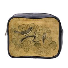 Birds Figure Old Brown Mini Toiletries Bag 2 Side by Nexatart