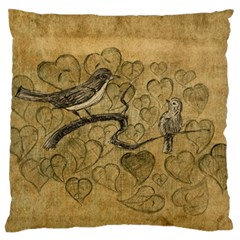 Birds Figure Old Brown Large Flano Cushion Case (one Side) by Nexatart