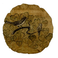 Birds Figure Old Brown Large 18  Premium Flano Round Cushions by Nexatart