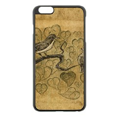 Birds Figure Old Brown Apple Iphone 6 Plus/6s Plus Black Enamel Case