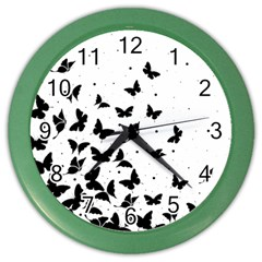Butterfly Pattern Color Wall Clocks by Valentinaart