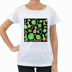 Tropical Pattern Women s Loose Fit T Shirt (white) by Valentinaart