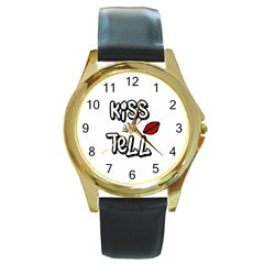 Kiss And Tell Round Gold Metal Watch by Valentinaart