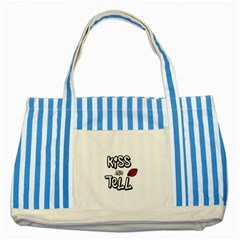 Kiss And Tell Striped Blue Tote Bag by Valentinaart