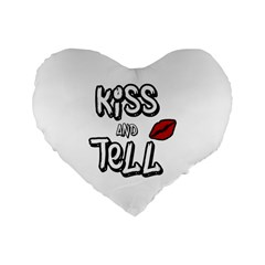 Kiss And Tell Standard 16  Premium Flano Heart Shape Cushions by Valentinaart